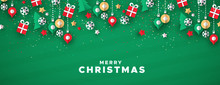 Merry Christmas Banner Of Paper Art Holiday Icons