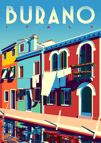 Sunny summer day in Burano, Italy, with canal and traditional houses. Wall mural