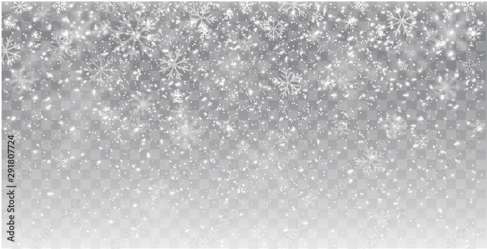 Fototapeta Seamless realistic falling snow or snowflakes. Isolated on transparent background - stock vector.