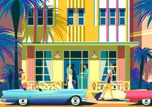 Street Scene On A Sunny Summer Dayin Miami Beach, Florida, USA.