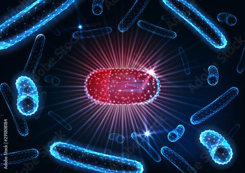 Fotografia Antibiotics pills in bacteria medium concept