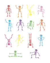 Skeletons Dancing. Funny Dancing Skeleton Vector Illustration Background. Running And Jumping Colored Skeletons. Happy Halloween. The Day Of The Dead