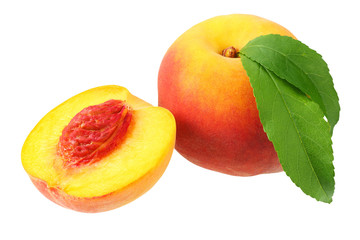 peach fruit with green leaves and slices isolated on white background