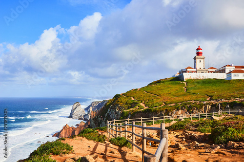 Foto auf AluDibond Himmelblau Cabo da Roca, Portugal. Lighthouse and cliffs over Atlantic Ocean, the most westerly point of the European mainland.