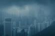 Hong Kong city in blue creative filter