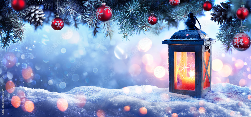 Fototapeta Christmas Lantern On Snow With Snowy Fir Branches And Baubles