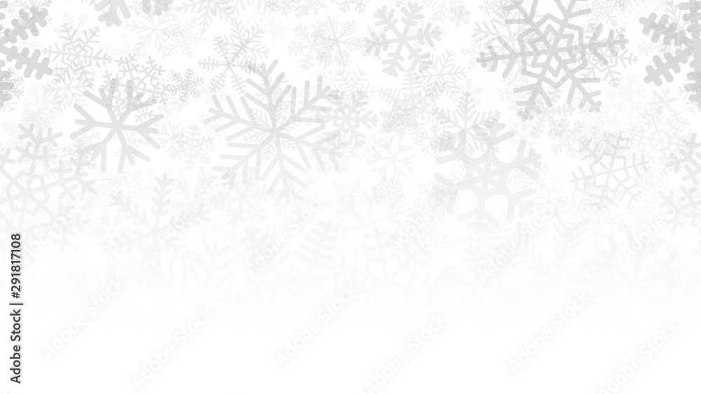 Fototapeta Christmas background of many layers of snowflakes of different shapes, sizes and transparency. Gradient from gray to white