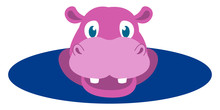 Pink Hippo, Illustration, Vect...