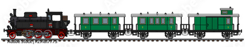 Fotomural  The vectorized hand drawing of a vintage passenger steam train