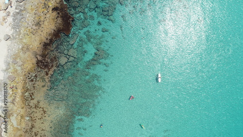 cenital plane with turquoise water and rocks in Formentera island