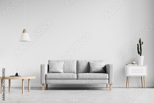 Minimalist Nordic Stlye Living Room Interior Wall Background Mockup