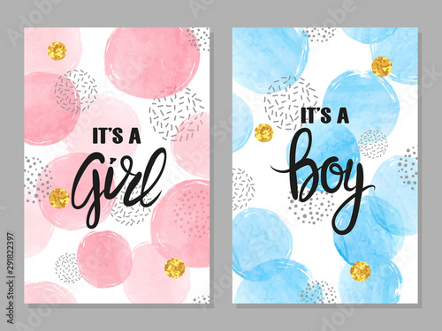 Fototapeta Baby Shower Card Set Watercolor Invitation Cards Design For Baby Shower Party Girl And Boy