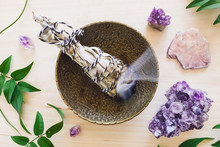 Burning Smudge Bundle With Amethyst And Lepidolite