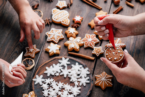 Valokuvatapetti Christmas and New Year celebration traditions, festive sweets, family culinary