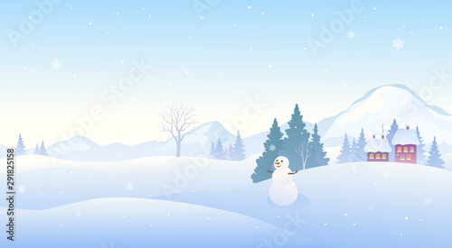 Tuinposter Lichtblauw Winter snow covered landscape with a cute snowman, mountain background