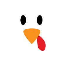 Vector Turkey Bird Pattern Seamless Background. Turkey Bird Background Eyes And Beak. Thanksgiving Day
