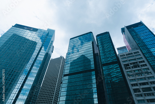 skyscraper building in Hong Kong, city view in blue filter Canvas Print