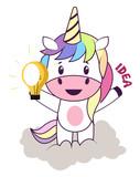 Unicorn with lightbulb illustration vector on white background.