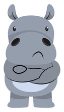 Mad Hippo Illustration Vector On White Background.