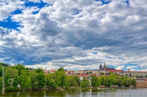 Recess Fitting Blue sky A view of Prague Castle across the Vltava River in Prague, Czech Republic.