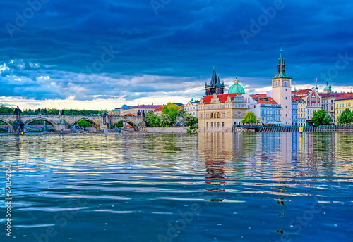 A view of Old Town Prague and the Charles Bridge across the Vltava River in Prague, Czech Republic Wallpaper Mural