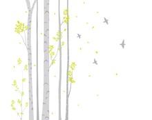 Birch Tree With Deer And Birds...