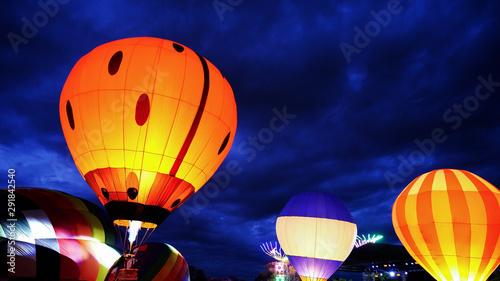 hot air balloon at night - 291842540