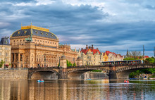 The National Theatre Located In Prague, Czech Republic On The Vltava River.
