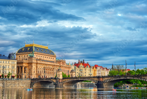 Photo  The National Theatre located in Prague, Czech Republic on the Vltava River