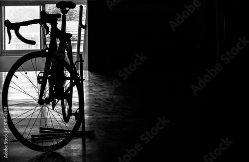 Printed kitchen splashbacks Bicycle silhouette bicycle parking and free space for present