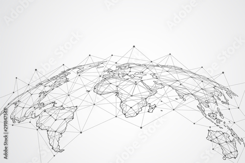 Global network connection. World map point and line composition concept of global business. Vector Illustration #291847563