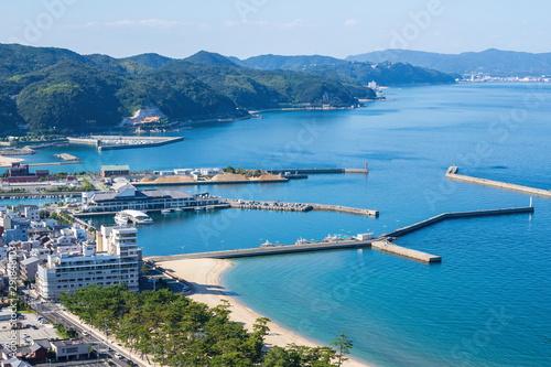 Poster Bleu Landscape of Sumoto port ,Awaji island ,Hyogo, Japan
