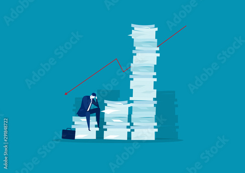 businessman stress and solution with very tall paper stack vs man on blue backgr Canvas Print