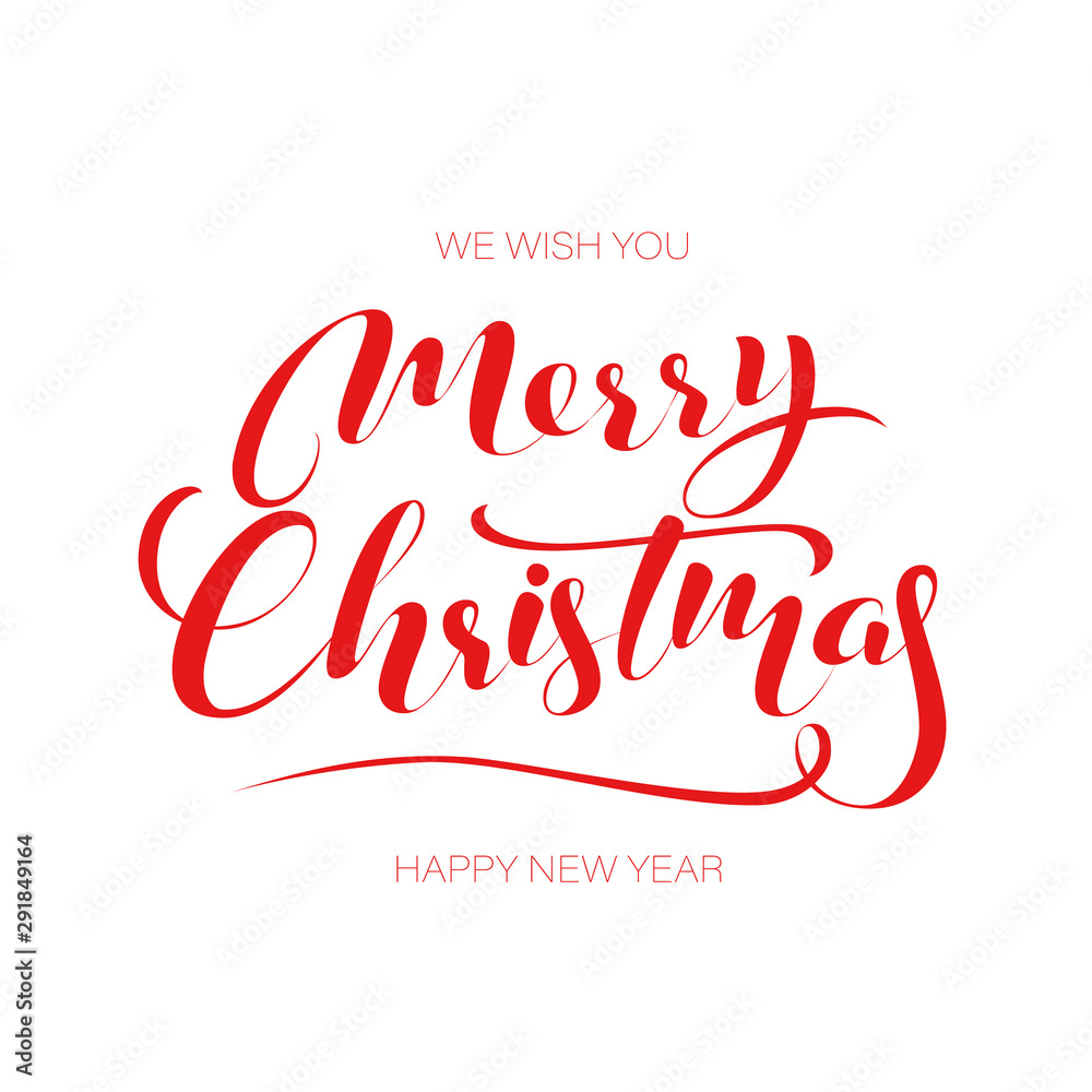 Fototapeta Merry Christmas gold glittering lettering design. Vector illustration EPS 10