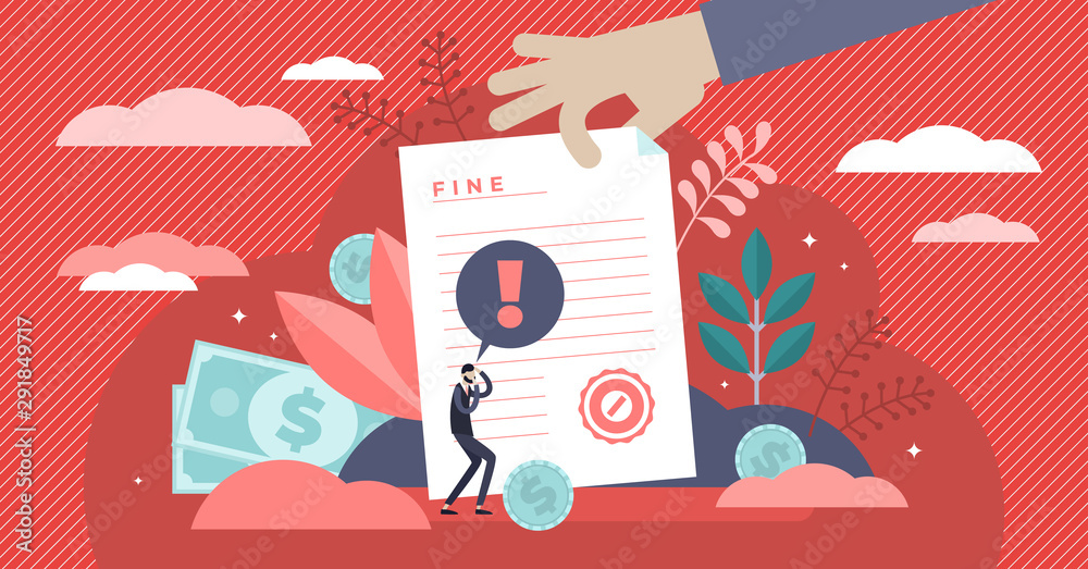 Fototapety, obrazy: Pay fine vector illustration. Flat tiny punishment document persons concept