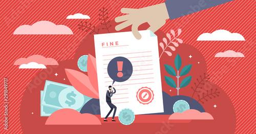 Obraz Pay fine vector illustration. Flat tiny punishment document persons concept - fototapety do salonu