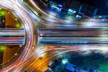 Aerial Shot Top View Circle Road At Night..