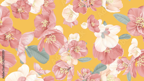 Foto Floral seamless pattern, Japanese quince flowers on yellow, pastel vintage theme