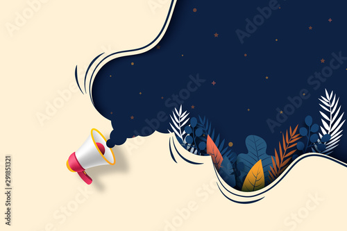 Carta da parati Megaphone with plant leaf and dark blue bubble speech concept of grand opening sale background template