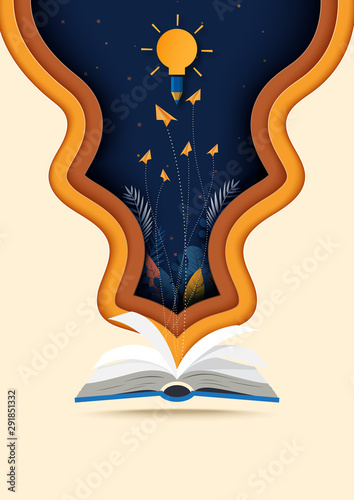 Stampa su Tela Open book with learning,education and explore concept background template paper art style