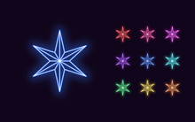 Neon Star With 6 Ray, Christma...