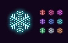 Neon Snowflake, Christmas And New Year Decoration
