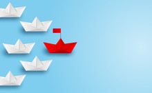 Business Leadership ,financial Concept. Paper Boat Red Leadership To Sea Go To Success Goal. Paper Art Style. Creative Idea. Vector ,illustration.