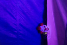 Spooky Clown Behind Fabric