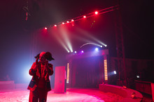 Clown On Circus Stage In Lights