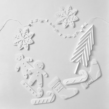 Frame Made Of Christmas Paper Figures In The Shape Of Snowmen, S
