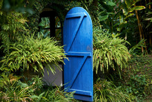 The Fairy Tale Blue Door In The Rainforest, Beautiful Scenery In Sri Lanka.