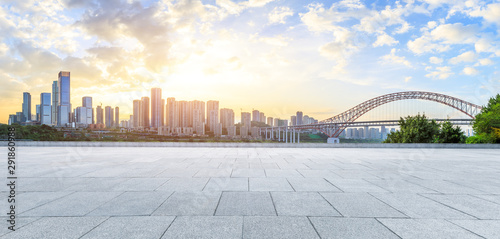 Fototapety, obrazy: Sunset time square road and Chongqing city view