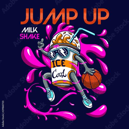 Poster Graffiti crazy milkshake character illustration graphic design