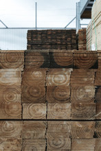 Stacked Timber At Builders Yard